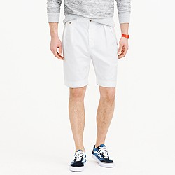 Double-pleated short in cotton-linen