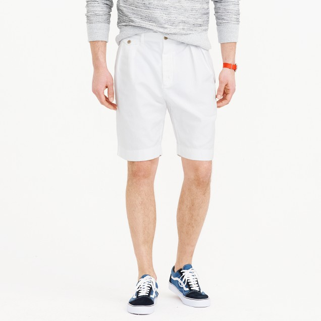 Wallace & Barnes double-pleated short in cotton-linen
