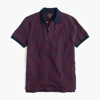 Textured cotton polo shirt in navy stripe