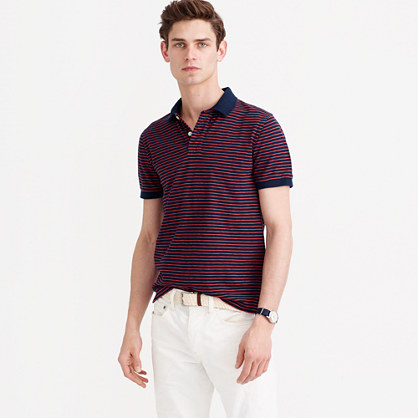 Textured cotton polo shirt in navy stripe
