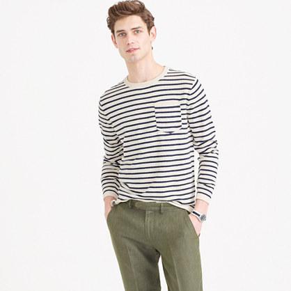 Textured cotton crewneck sweater in nautical stripe