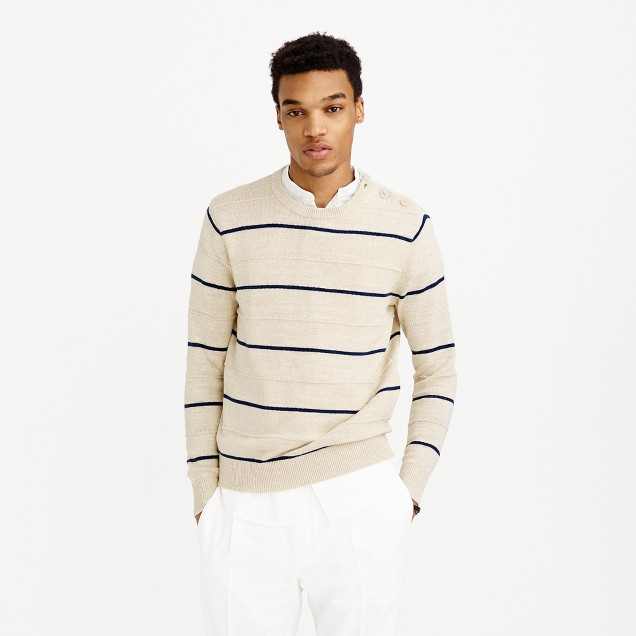 Button-shoulder textured cotton crewneck sweater in blanket stripe
