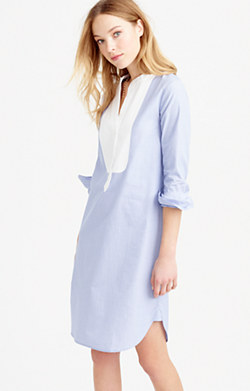 Thomas Mason® for J.Crew collarless tunic dress