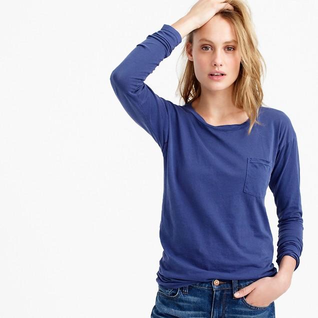 Long-sleeve garment-dyed pocket T-shirt