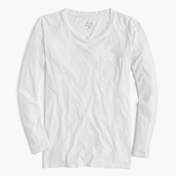 Long-sleeve garment-dyed pocket T-shirt