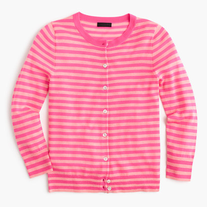 Featherweight cashmere cardigan sweater in stripe