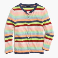 Italian featherweight cashmere cardigan sweater in candy stripe