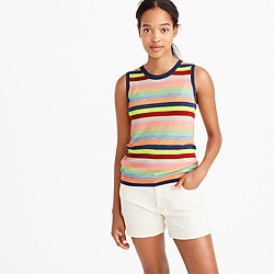 Italian featherweight cashmere shell in candy stripe
