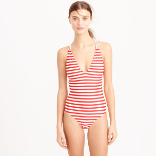 Braided deep-V one-piece swimsuit in classic stripe