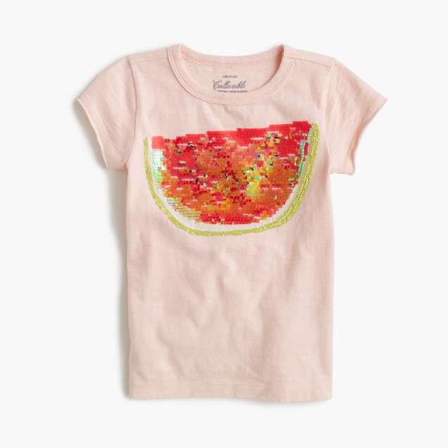 Girls 39 sequin watermelon t shirt j crew for Girls sequin t shirt
