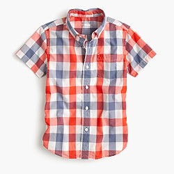 Kids' short-sleeve Secret Wash shirt in blue check