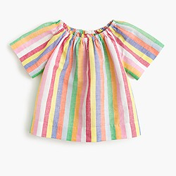 Girls' two-way ruched top in candy stripe