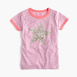 Girls' sequin star ringer T-shirt