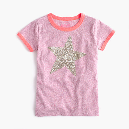 Girls 39 sequin star ringer t shirt short sleeve t shirts for Girls sequin t shirt