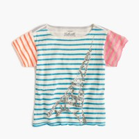 Girls' multistripe sparkle Eiffel Tower T-shirt