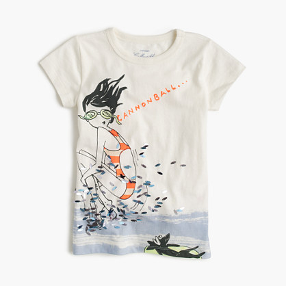 Girls' Olive cannonball T-shirt
