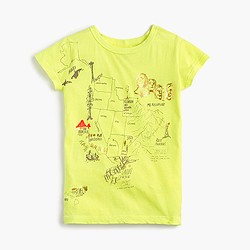 Girls' garment-dyed graphic T-shirt