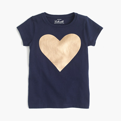 Girls' metallic heart T-shirt