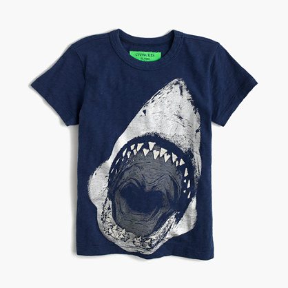 Boys' glow-in-the-dark shark face T-shirt
