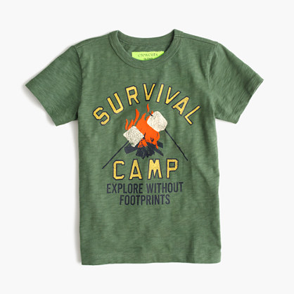 "Boys' glow-in-the-dark ""Survival Camp"" T-shirt"