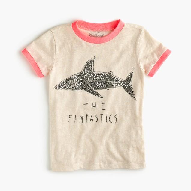 """Girls' """"the fintastics"""" sequin shark T-shirt"""