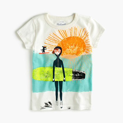 Girls' Olive and Izzy surfing T-shirt
