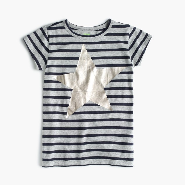 Girls' striped T-shirt with metallic star