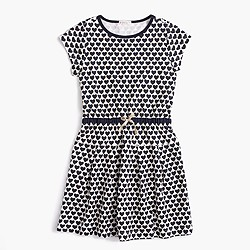 Girls' hearts-and-stripes combo dress