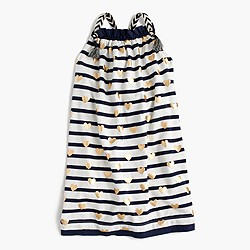 Girls' strappy striped dress with foil hearts