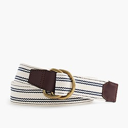 Woven ticking-stripe D-ring belt