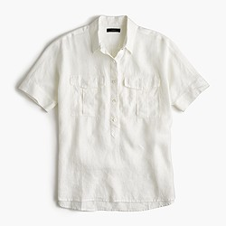 Short-sleeve popover shirt in white Irish linen