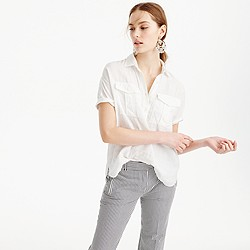 Petite short-sleeve popover shirt in white Irish linen