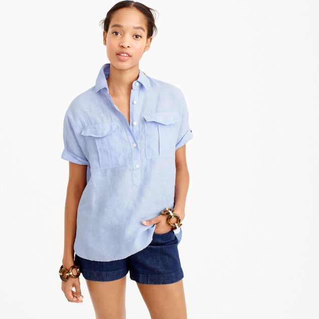Tall short-sleeve popover shirt in Irish linen