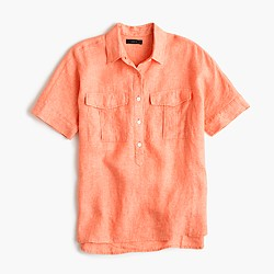 Petite short-sleeve popover shirt in Irish linen