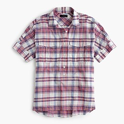 Tall short-sleeve popover in vintage plaid