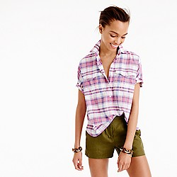 Petite short-sleeve popover in vintage plaid