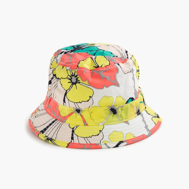 Girls' bucket hat in punchy hibiscus