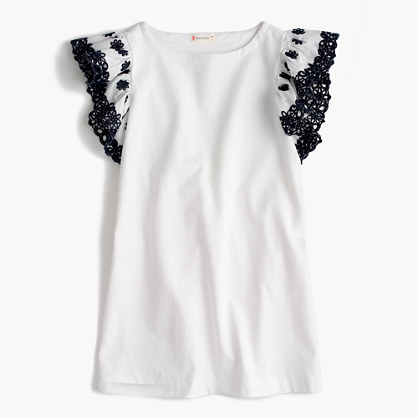 Girls' embroidered ruffle-sleeve dress