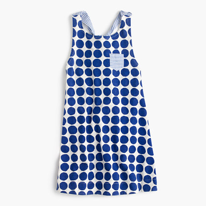 Girls' combo tank dress in polka-dot stripe