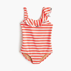Girls' ruffle one-piece swimsuit in stripe