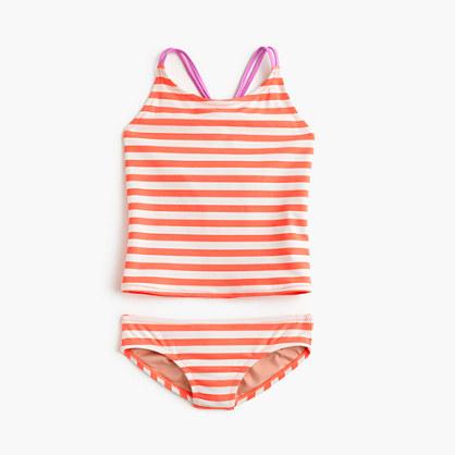 Girls' striped colorblock tankini set