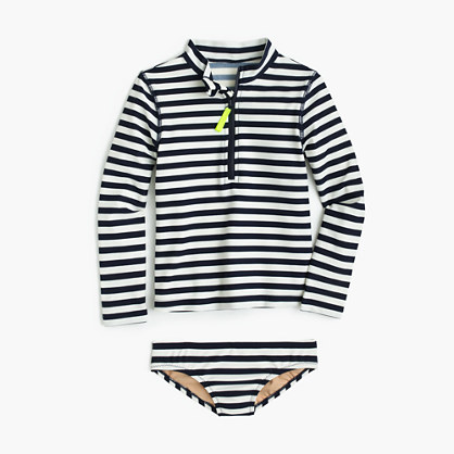 Girls' rash guard swim set in stripe