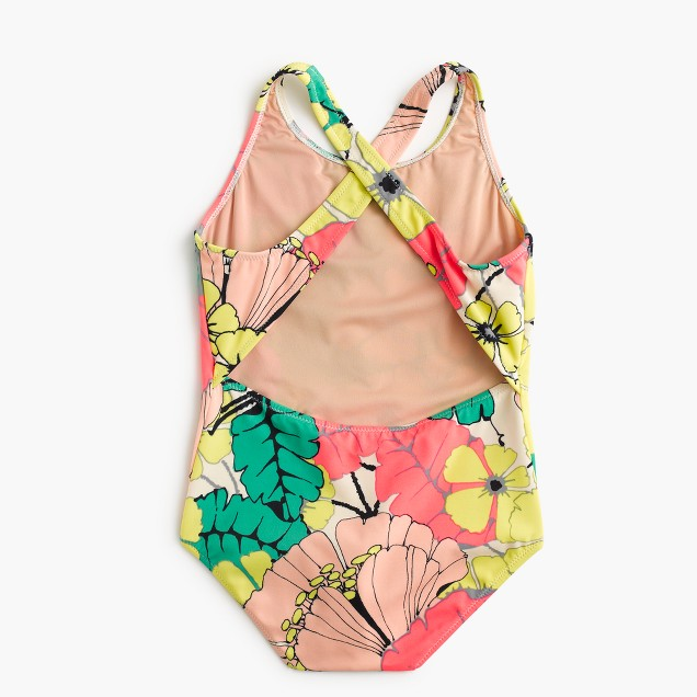 Girls' one-piece swimsuit in punchy hibiscus