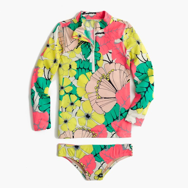 Girls' rash guard swim set in punchy hibiscus