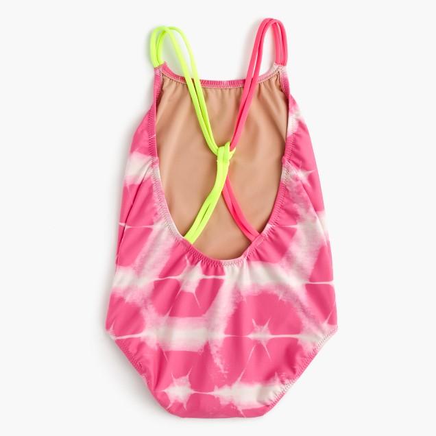 Girls' one-piece swimsuit in tie-dye