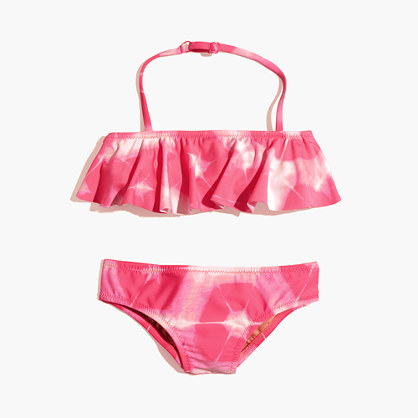 Girls' ruffle bikini set in tie-dye