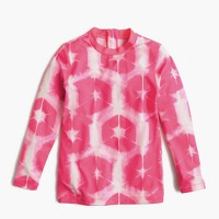 Girls' rash guard in tie-dye