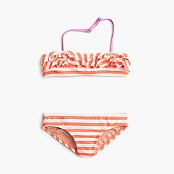 Girls' ruffle bikini set in stripe