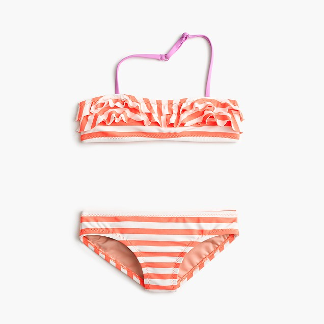 Girls' ruffle bikini set in stripe