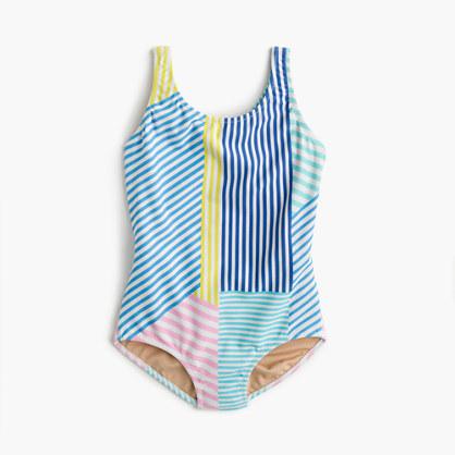 Girls' cross-back one-piece swimsuit in mixed stripe